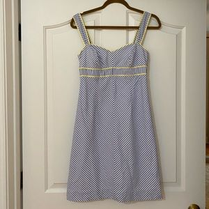Lilly striped dress with yellow trim
